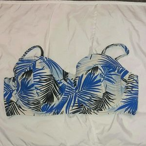 Forever21 3X Lace-up Palm Leaf Pattern Bikini Top